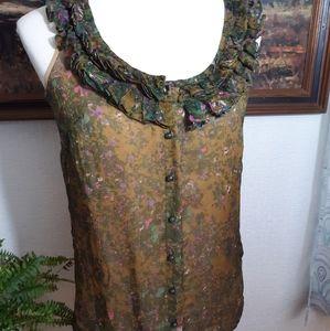 J. Crew silk ruffle floral blouse top sz 0